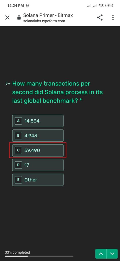 How Many transaction per second did solana process in its last global benchmark?